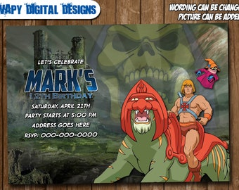 Masters of the Universe Digital Party invitation customize invite birthday thank you card