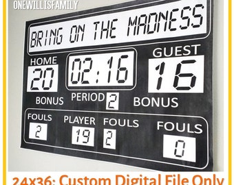 Basketball Birthday Printable Scoreboard 36x24, digital file only