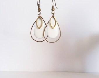 Earrings triple drop white enamel