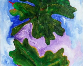 Spring Leaves Acrylic Abstract Expressionist Botanical