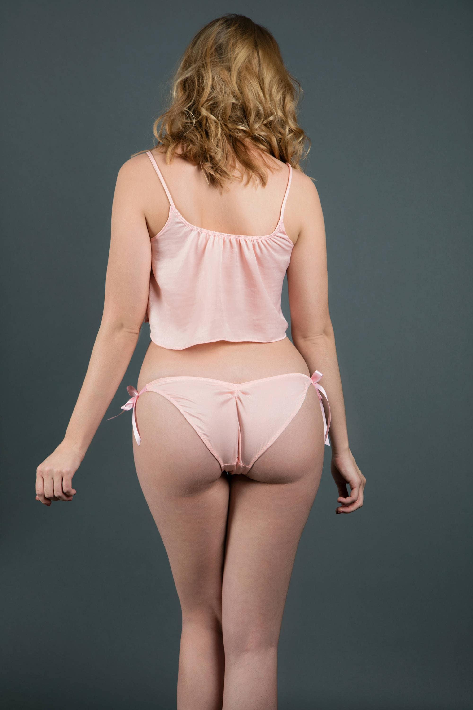 pink satin panties side tie bikini panties silk feel color