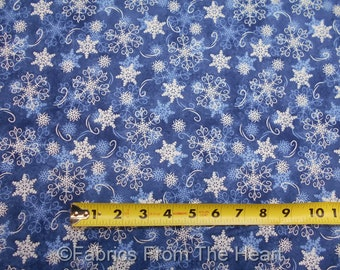 Welcome Winter White Snowflakes Toss on Blue  BY YARDS Wilmington Cotton Fabric