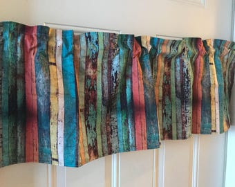 Rustic Farmhouse mulit colored barnwood  curtain valance