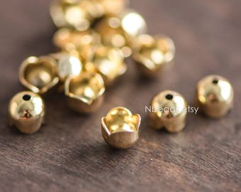20pcs Gold Floral Bead Caps 6/ 7mm, Gold plated Brass, Lead Nickel Free (GB-054)