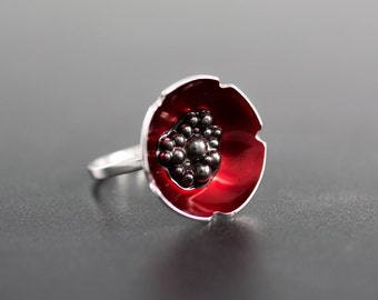 Enamel jewelry poppy ring, flower statement ring, enamel ring, unique ring, silver ring for women, unusual ring