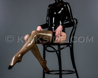 Latex stockings with back seam