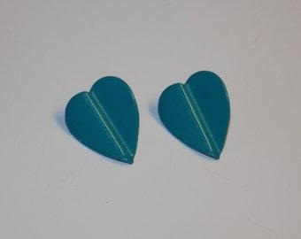 Vintage Teal Heart Shape Post Earrings