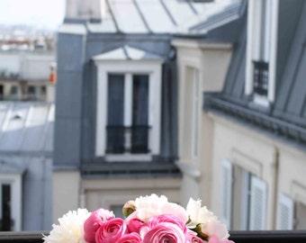 Paris Photography, Paris Apartment, Pink Ranunculus on the Paris Balcony,  Pink, Montmartre, Spring in Paris, flower decor