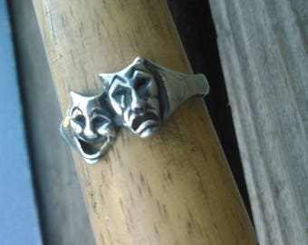 Sterling Silver Tragedy and Comedy Ring