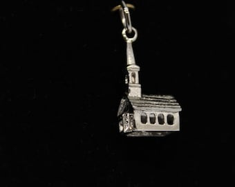 JEWELRY LIQUIDATION SALE Sterling Silver Church Pendant/Charm