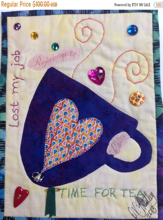 Hello Summer Sale Time For Tea Number 3 small art quilt