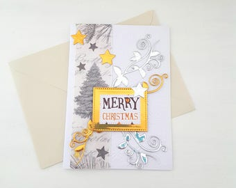 Merry Christmas decor, gold and silver, creating My little stationery card