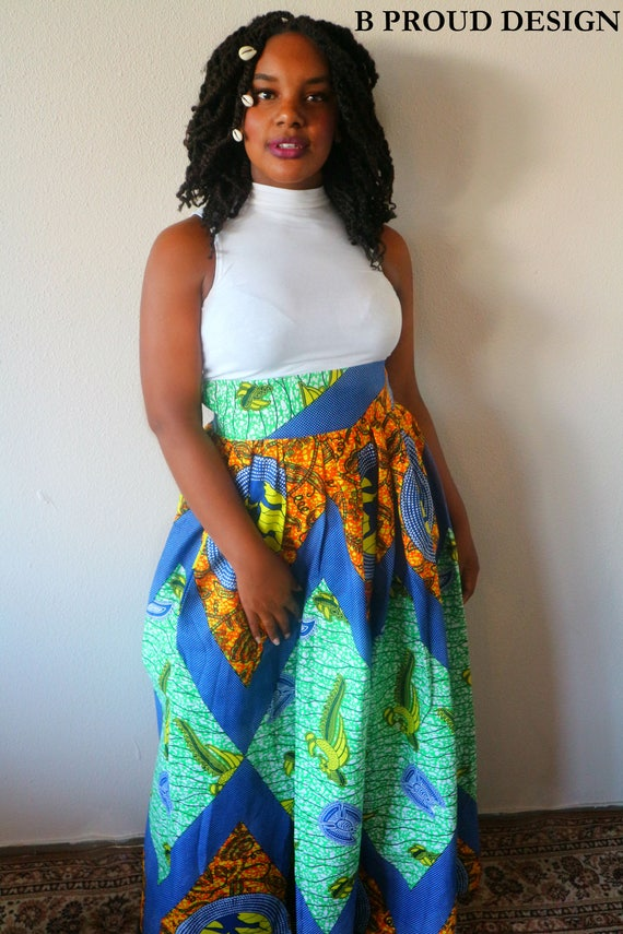 ANKARA MAXI SKIRT with sidesplit + bag