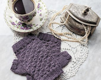 Pattern: Matilija Mitts / Knit Fingerless Mitt Mitten Pattern / Digital Pattern, Sportweight Yarn