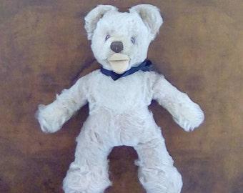Vintage Traditional Small Plush Teddy Bear with Glass Eyes circa 1930's Mohair Bear