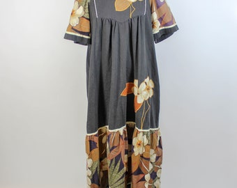 Liberty House Hawaiian Maxi Dress Earth Tones Women's Large Tropical Shan-Ying