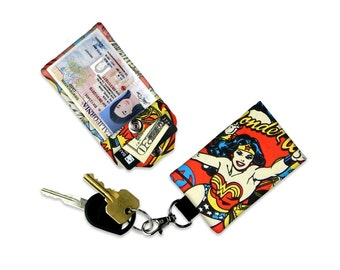 DC Comics Wonder Woman Mini Wallet Work Badge ID Holder Luggage Tag Student ID Wallet Small Wallet Neck Lanyard Keychain Wallet
