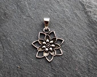 Sterling Silver Blooming Lotus Flower Pendant