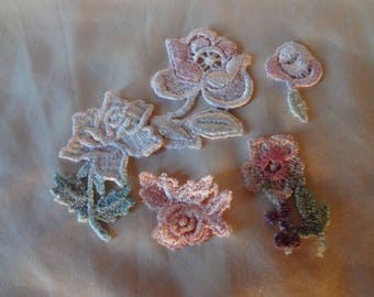 Vintage Appliques Batch of Five Flowers from the 80's Sew On