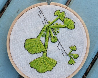 Hand Embroidered Hoop Art Gingko Tree 4""
