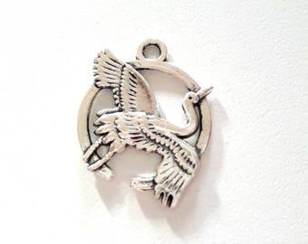 1 antique silver crane pendant charm