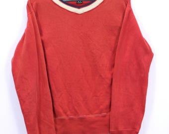 Vintage B.C 45RPM Sweatshirt Long Sleeve V-neck Pullover Red Color Made In Japan