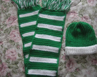 St. Patrick's Day Green and White  Scarf and Hat Combo