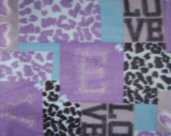 Blue Love Fleece Fabric (1.5 yards)