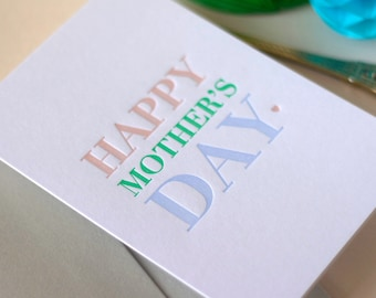 Mother's Day Letterpress Card Mothering Sunday colourful bold typography