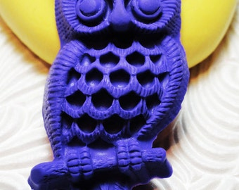 LARGE VINTAGE OWL Flexible Silicone Rubber Push Mold for Resin Wax Fondant Clay Ice 6020