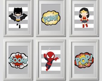 superhero wall art, vintage color superhero bedroom decor, superhero nursery wall decor, high quality superhero  wall art prints, set 6