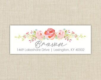 Return Address Labels, Return address stickers, return address, return address label stickers, floral return address label