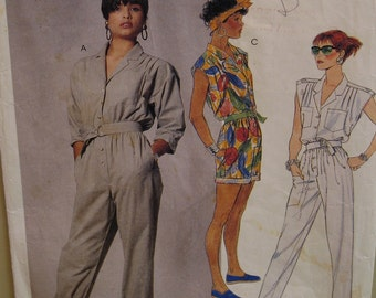 Womens Romper Pattern, Jumpsuit, Buttoned Front, Roll Up Pant Legs, Sleeveless, Sleeves, Pockets, McCalls No. 3068 UNCUT Size 10