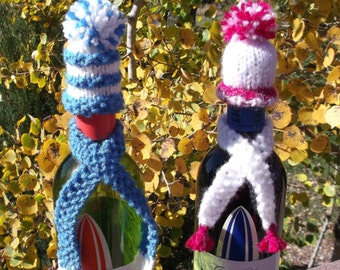 Wine Cozy Set - Hand knitted hat and scarf set