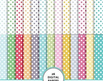 Easter dots paper, digital Easter paper, dots paper, Easter digital scrapbook, Easter colors paper, dots background, Easter polka dots