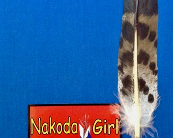 Native American *Nakoda Made* Hand Painted Replica COOPERS HAWK Feather