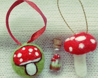 Needle felted toadstool decorations fly agaric tree ornaments