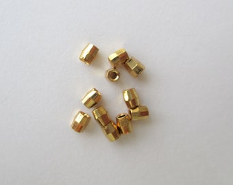 Gold Plated Brass Spacer Bead, GP Diamond Cut Spacer, 3mm Double Cone Spacer, GP Faceted Spacer Bead, lot of 100