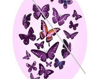 18x25mm, pink and purple butterflies fly