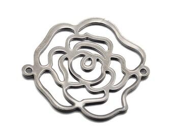 1 x Rose flower metal 32mm GUNMETAL filigree connector