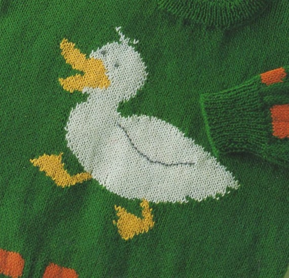 Pdf Knitting Pattern Duck Motif Baby Sweater 8 Ply And