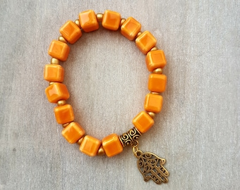 Gorgeous orange ceramic cube bead bracelet with hand of Hamsa charm