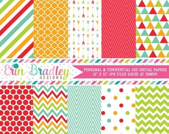 80% OFF SALE Digital Paper Pack Red Orange Green & Blue Stripes Chevron Polka Dots Triangles and Arrow Graphics Patterned Paper Set