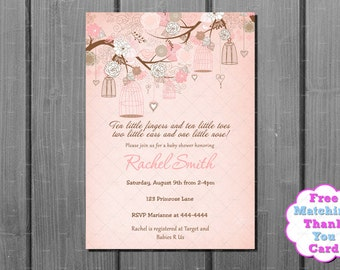 Girl Baby Shower Invitation - FREE Thank You Card Printable -  Pink Shabby Chic Baby Shower Invitation - Baby Girl Shower Invite Shabby Chic
