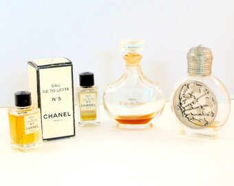Four vintage mini perfume cologne bottles, EMPTY, 2 tiny Chanel eau de colognes, one with a box, one Deco-like metallic trim, L'Air du Temps