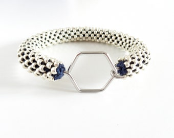 Bracelet hexagon // Aluminum Bracelet // Geometric Bracelet // Bracelet Honeycomb // Beaded Rope bracelet // Crochet Bead Bangle //