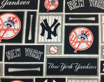 "NEW YORK Yankees 60"" Wide Cotton Fabric By The Yard By The 1/2 Yard MLB"