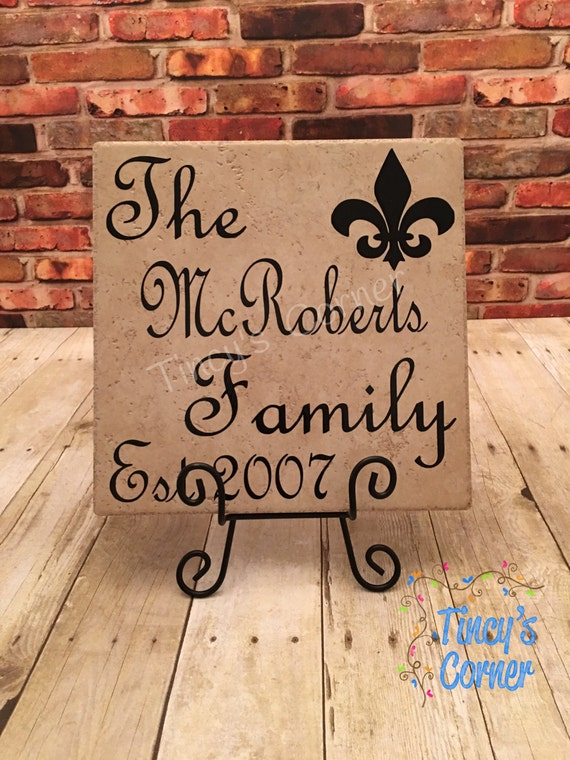 Ceramic Tile Name Plate with Last Name Family Established