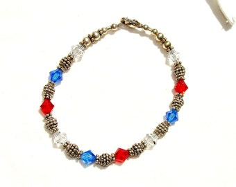 Red, White and Blue Swarovski Crystal and Sterling Silver Bracelet