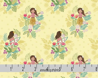 Island Girl Fabric, Lewis & Irene Fabric A191 2, Hula, Surfer Girl Fabric, Yellow Tropical Quilt Fabric, Beach Fabric, Girl's Fabric, Cotton